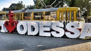 Odess Ukraine Stadtschild Innenstadt Hauptbahnhof