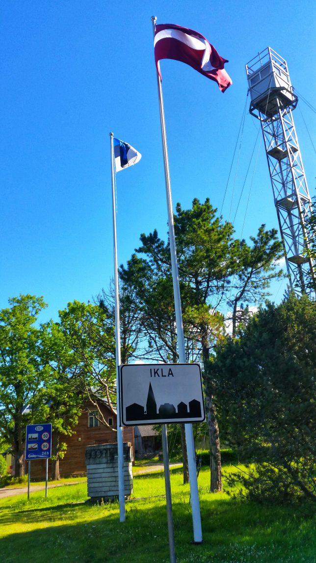 Grenze Estland Lettland bei Ikla Eurovelo 10