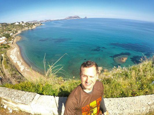 Italien Küste Flagge Fahrrad Meer Strand Radreisen Fahrradfahren Radfahren Sizilien